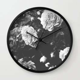 Spring Morning Roses in Bloom Black and White Photography Wall Clock