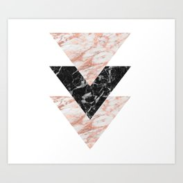 Marbles rose gold gilded triangles Art Print
