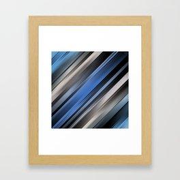 Abstract Blue Stripes Framed Art Print