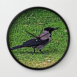 Crow of Courage Wall Clock
