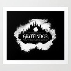 Gryffindor B&W Art Print