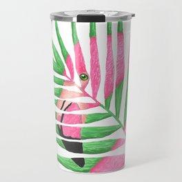 Pink Flamingo Palm Leaf Travel Mug