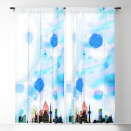 Bright Architecture and Snowflakes Blackout Curtain