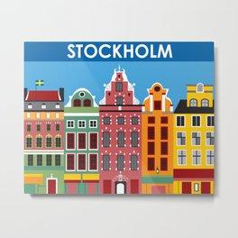 Stockholm, Sweden - Skyline Illustration by Loose Petals Metal Print
