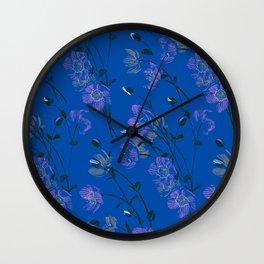 Poppy Floral - Blue Wall Clock