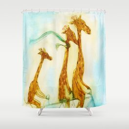 Family of giraffes rides a bicycle-tandem Shower Curtain
