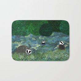 Badgers Amongst the Bluebells (evening) Bath Mat