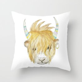 Yakety Yak Striped Illustration  Throw Pillow