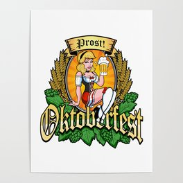 Oktoberfest German Prost Sexy Pin Up Girl Beer Label Poster