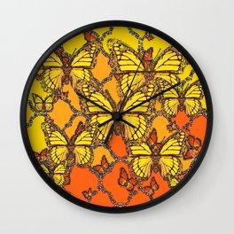 YELLOW & ORANGE MONARCH BUTTERFLIES ART Wall Clock