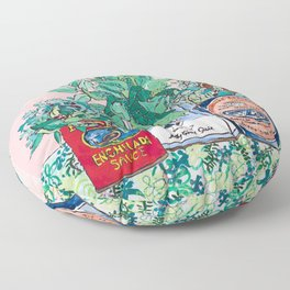 Jungle Botanical in Colorful Cans on Pink - Still Life Floor Pillow