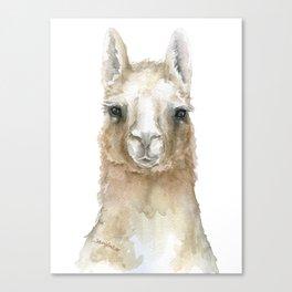 Llama Watercolor Painting Canvas Print