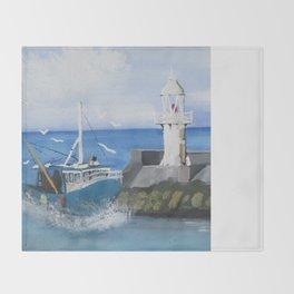 The Brixham Trawler Throw Blanket