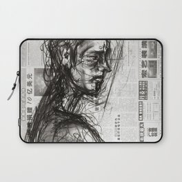 Waiting - Charcoal on Newspaper Figure Drawing Laptop Sleeve