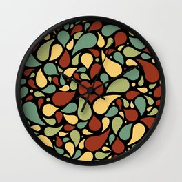 Heart surrounded by drops black pattern Wall Clock