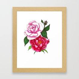 Rose and Peony Flowers Framed Art Print