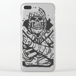 Military skull with guns Clear iPhone Case