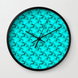 Intersecting bright light blue rhombs and black triangles with volume. Wall Clock