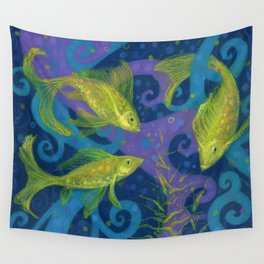 Golden Fishes, Blue &Yellow Wall Tapestry