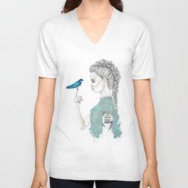 Bluebird girl Unisex V-Neck