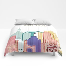 San Jose colorful skyline design Comforters