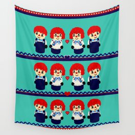 Little Wooden Raggedy People Wall Tapestry