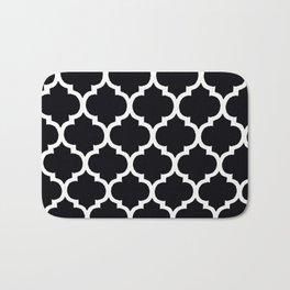 Moroccan Black and White Lattice Moroccan Pattern Bath Mat