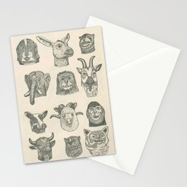 Paper Mache Animal Heads Stationery Cards