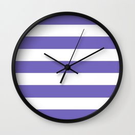 Blue-violet (Crayola) - solid color - white stripes pattern Wall Clock