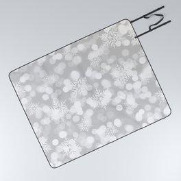 Christmas Snowflakes Bokeh Silver Pattern Picnic Blanket