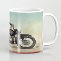 motorbike Mugs featuring Looking for the drones, VW Scout Trooper Motorbike by Vin Zzep