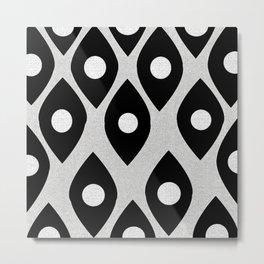 Black and White Pattern Fish Eye Design Metal Print