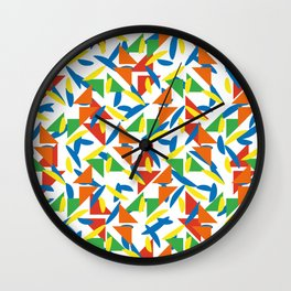 Ornaments damask seamless yellow orange green red blue dots triangles decorative graphic vector pattern-06 Wall Clock