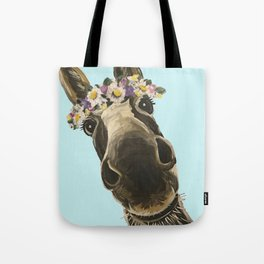 Blue Flower Crown Donkey, Donkey Art Tote Bag