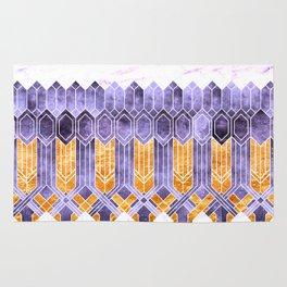 Turtle Shell Geometric   Art Deco   Purple & Gold Rug
