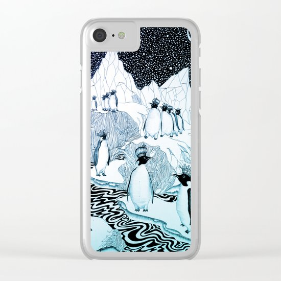 Too Many Kings in Ice Blue Clear iPhone Case