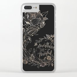 Nevertheless She Persisted Gold Clear iPhone Case