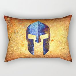 Blue Spartan Helmet On Rust Background - Molon Labe Rectangular Pillow