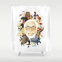 hayao miyazaki Shower Curtains featuring Miyazaki-San by Danny Haas