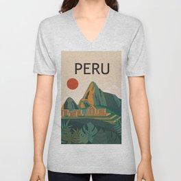 Peru travel poster Unisex V-Neck