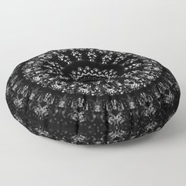 Kaleidoscope crystals mandala in black and white Floor Pillow