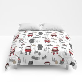 Forest lumberjack and bear nursery kids cute woodland camper gifts Comforters