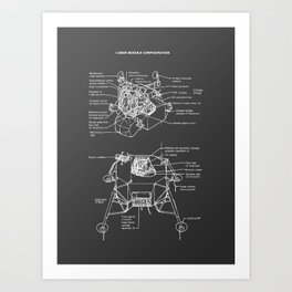 Lunar Module Exploded View Art Print