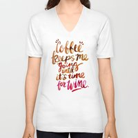 wine V-neck T-shirts featuring Coffee & Wine – Brown & Magenta Ombré by Cat Coquillette