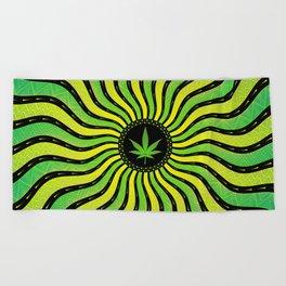 Marijuana energy | Sacred geometry mandala Beach Towel