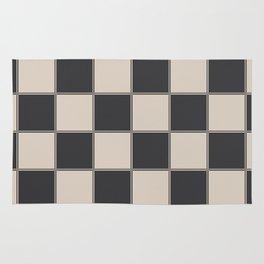 Traditional Checkerboard, Ecru-Beige and Chocolate-Deep Brown Rug