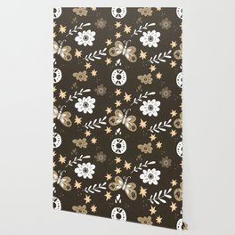 Dark Brown Pattern with White Flowers and light brown butterflies Wallpaper
