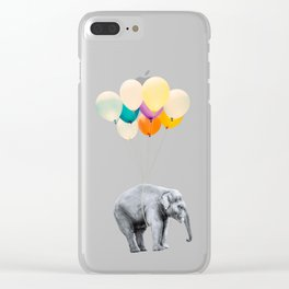 Dreaming Elephant Flying With Colorful Party Balloons Clear iPhone Case