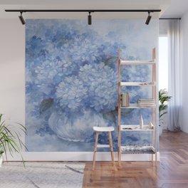 Hydrangeas in Blue Wall Mural
