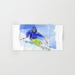 Watercolor skier, skiing illustration Hand & Bath Towel